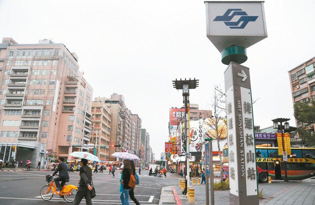 松山捷運站及周邊的建築。 記者林俊良/攝影