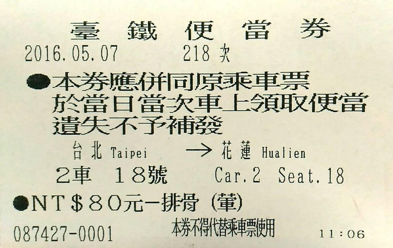 台鐵訂票兼訂便當 一張票搞定