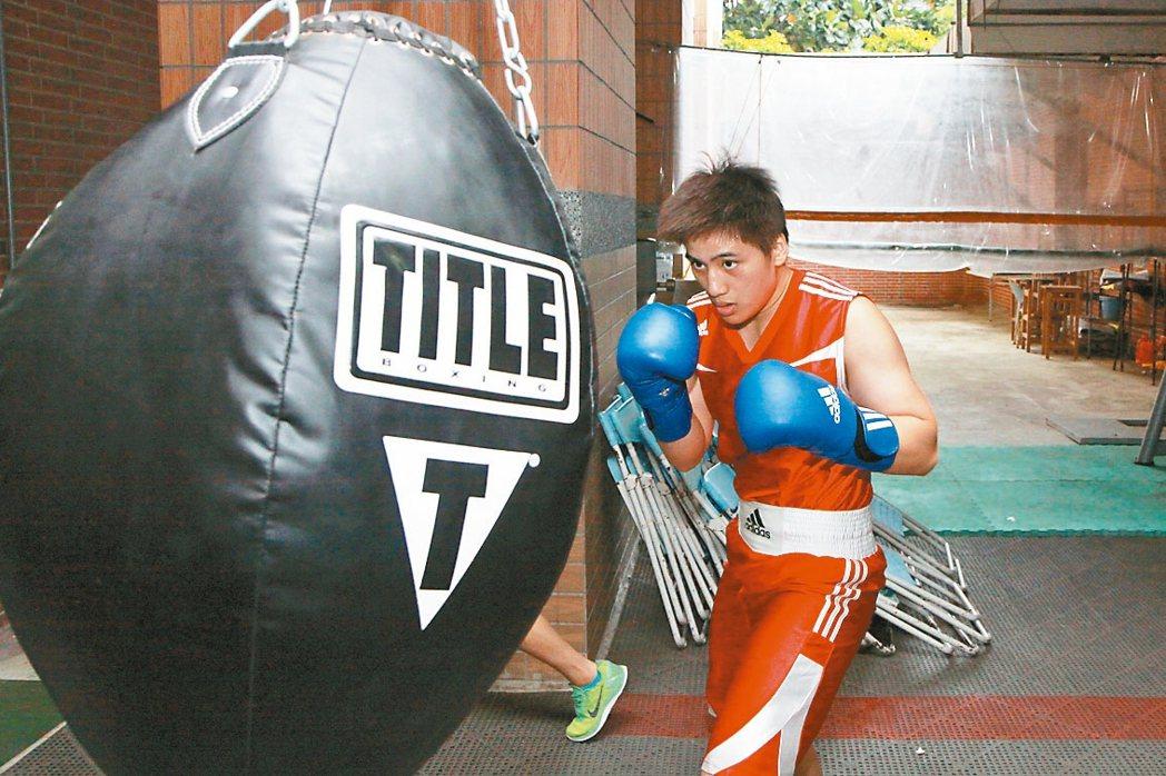 台灣首位女子拳擊奧運國手陳念琴爆發力強,目標在奧運賽事奪牌。 報系資料照