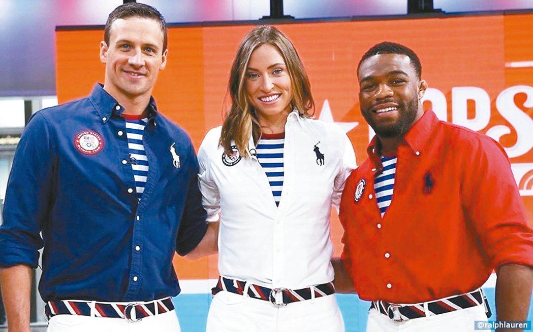Ralph Lauren設計美國隊隊服,條紋T恤被質疑像俄羅斯國旗。 圖/摘自U...