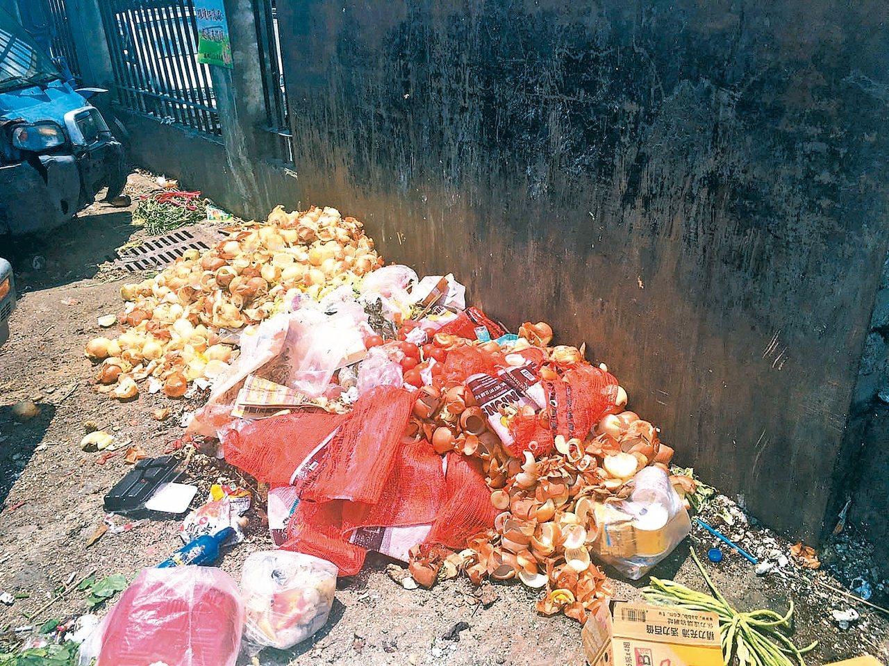 處可看見丟棄的蔬菜及廢棄物,分不清楚究竟是還能吃但賣相不佳被丟棄,還是腐敗爛掉的...