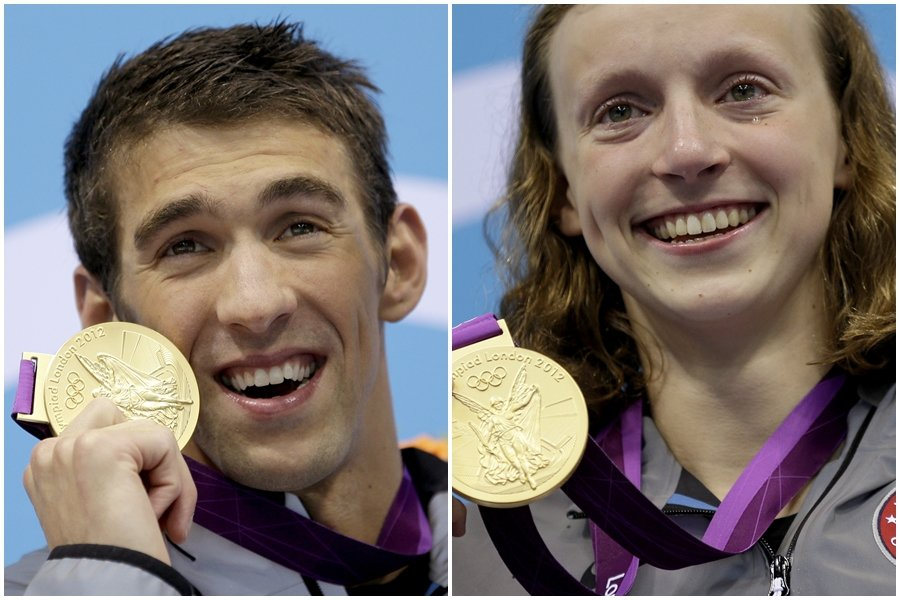 美國奧運代表團最閃耀的池畔雙星菲爾普斯(左)和「天才少女」萊德基(右)。 美聯社