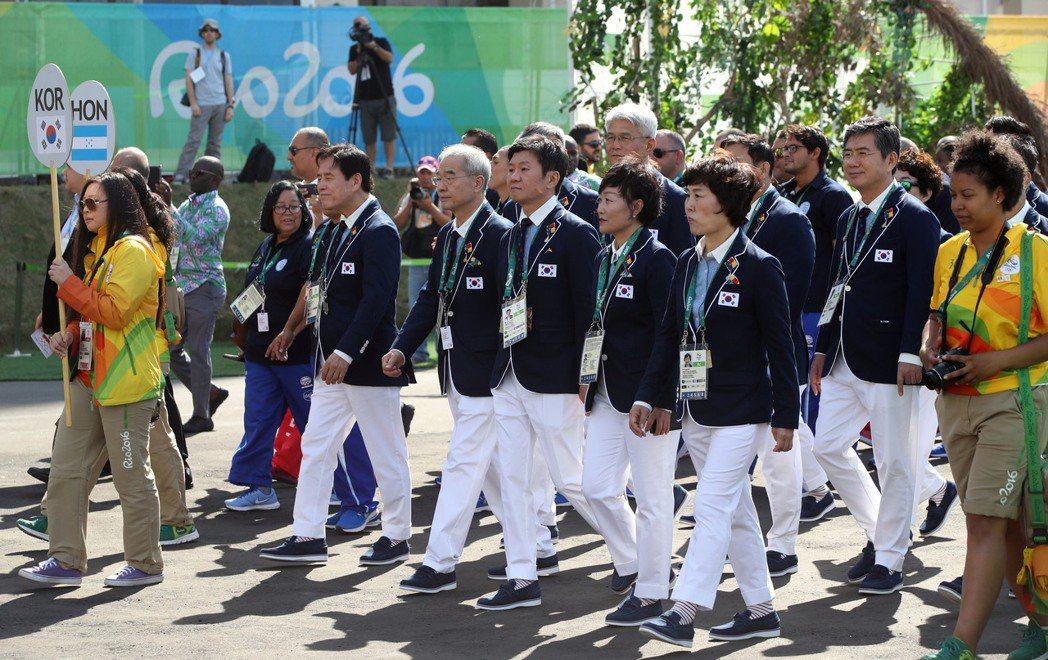 韓國代表團進駐選手村儀式。 歐新社