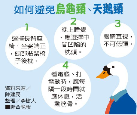 如何避免烏龜頸、天鵝頸 資料來源/陳建民 整理/李樹人