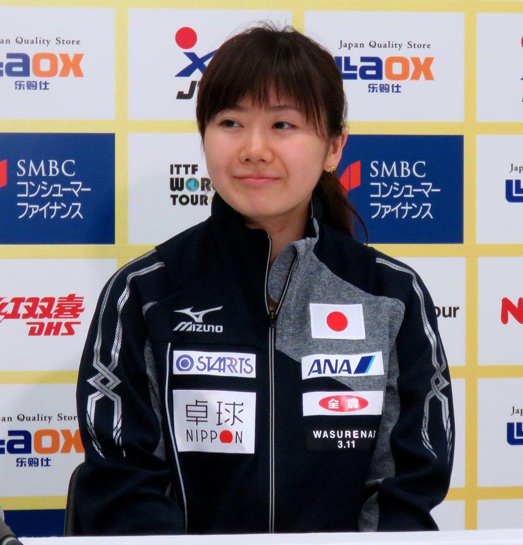 桌球名將福原愛自己修理奧運選手村的馬桶,圖為她出席日本公開賽記者會。記者雷光涵/...