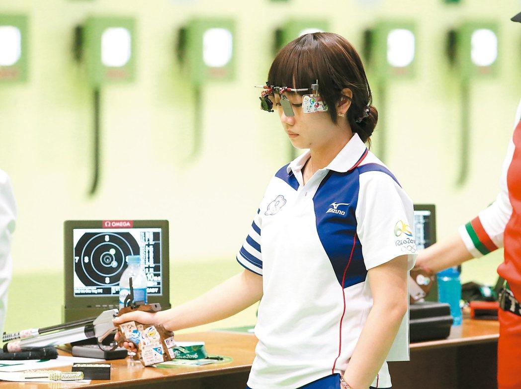 女子十公尺空氣手槍資格賽,吳佳穎打出三百八十分未能晉級。 特派記者陳正興/攝影