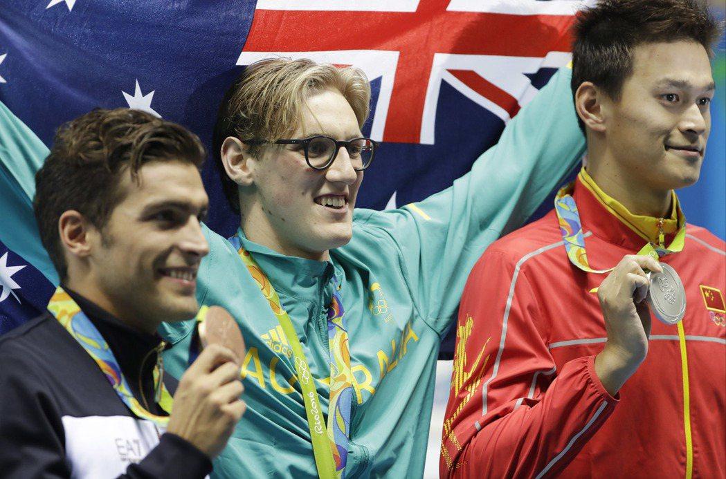 澳洲選將霍頓在男子自由式400公尺奪冠,卻譏大陸選手孫楊為「嗑藥騙子」。 圖/美...