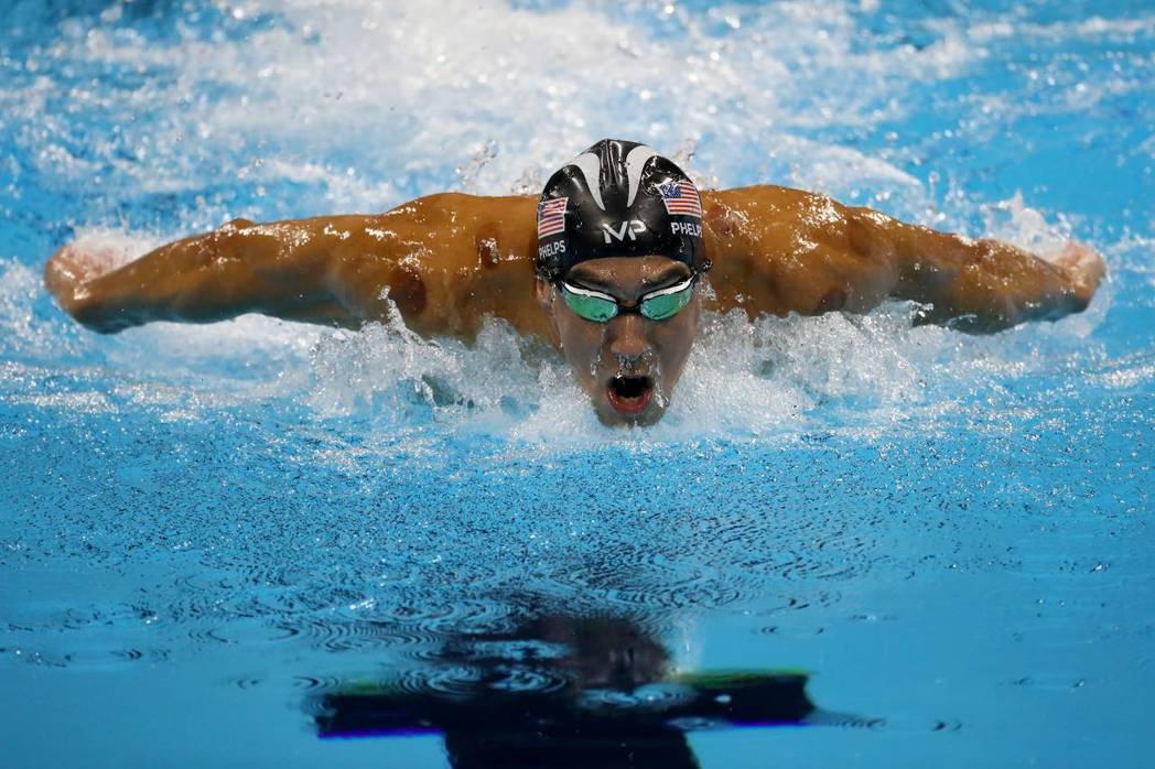 菲爾普斯的200米蝶泳金牌姿勢。(Getty Images)