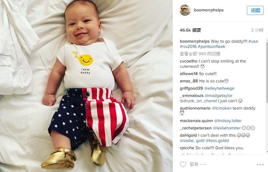 「飛魚」菲爾普斯的寶貝兒子布默才三個月大,就有自己的Instagram,人氣超旺...