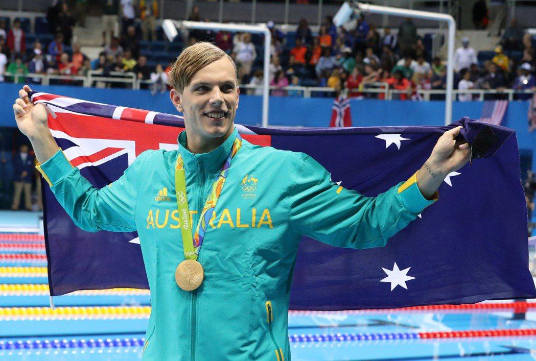 澳洲泳將查默斯(Kyle Chalmers)今天在男子100公尺自由式奪金。 美...