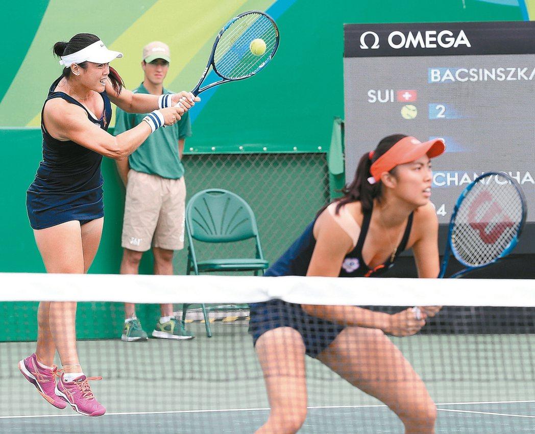 奧運網球女雙八強賽,台灣搭檔詹詠然(左)與妹妹詹皓晴(右)輸給瑞士組合辛吉絲和貝...