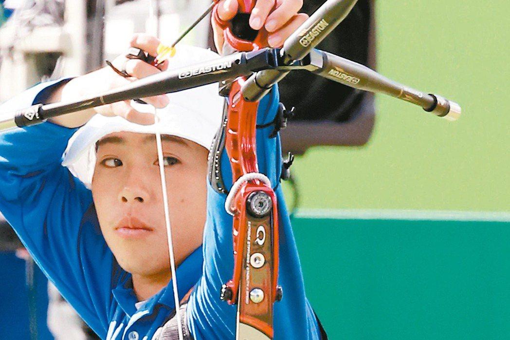 奧運女子射箭,我國選手譚雅婷無緣晉級4。 特派記者陳正興/攝影