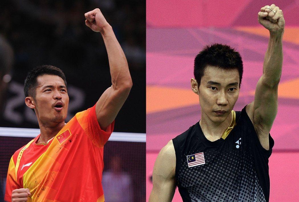 林丹(左)與李宗偉(右)於羽毛球世界頂級賽事中交手超30次,以林丹取勝較多。(網...