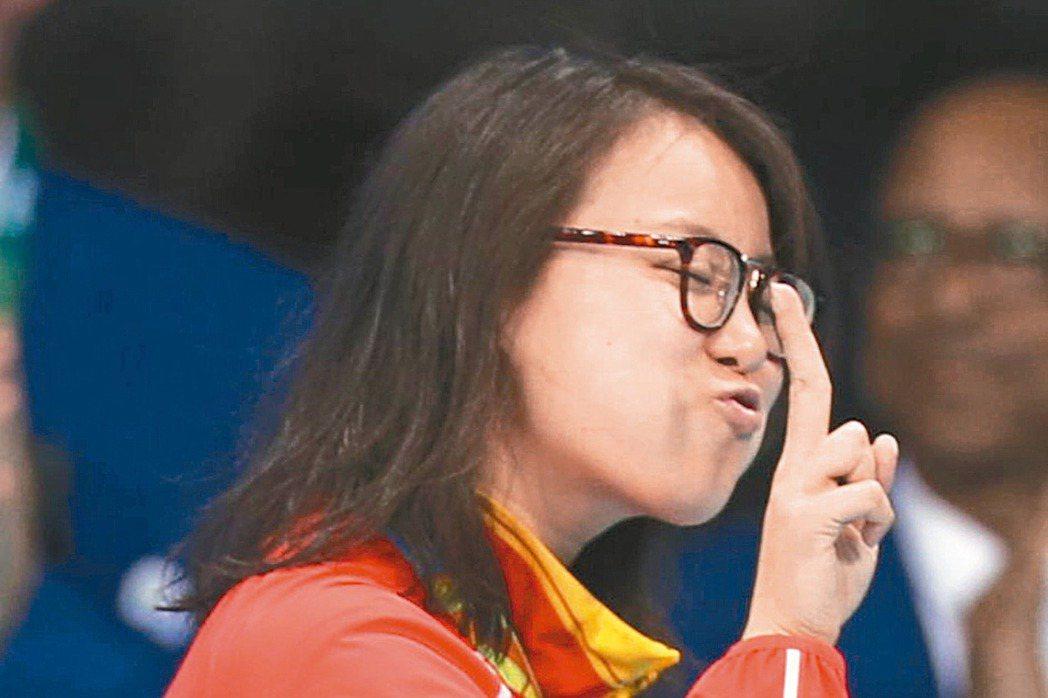 「洪荒女」傅園慧在中國隊在4x100混合式出賽,但未能奪牌。 新華社