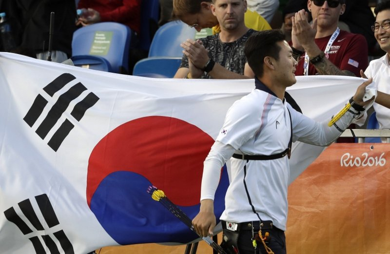 南韓射箭好手具本粲(Ku Bon-Chan)奪得奧運男子個人項目金牌。 圖/美聯...