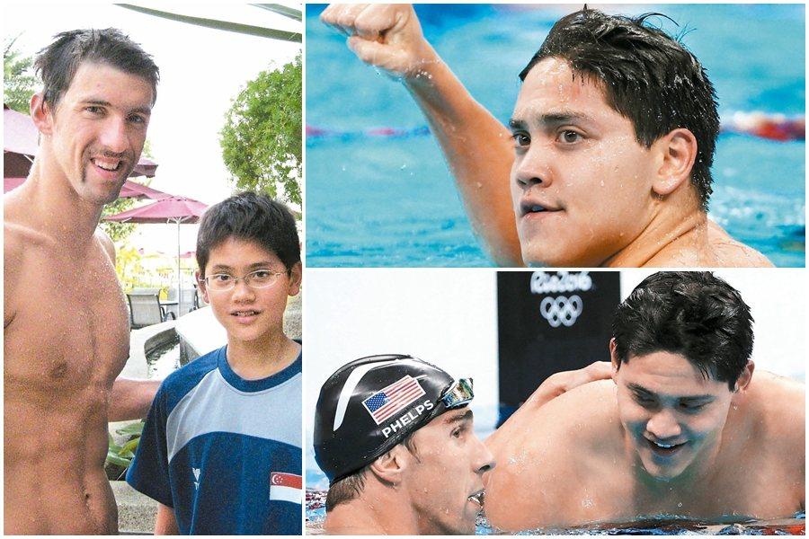 星國小將擊敗小時候的偶像飛魚,成為奧運大驚奇。 美聯社、路透