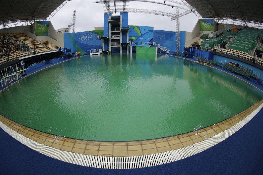 奧運瑪莉亞林柯水上運動中心,池水變綠的問題令人擔心。 美聯社