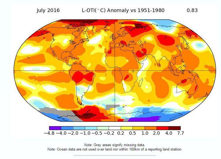 美國航太總署(NASA)說,今年7月是有紀錄以來地球最熱的一個月。圖擷自NASA