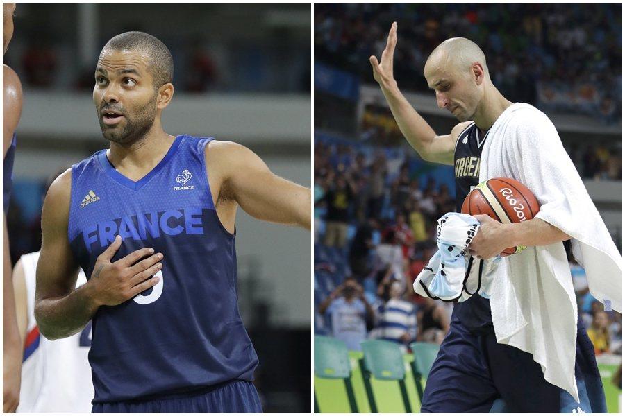 法國與阿根廷都在男籃8強止步,同為馬刺隊友的帕克(左)與吉諾布里也同時宣布退出國...