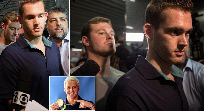 美國奧運游泳選手班茲(左圖、右圖右)與康格(右圖左),走出里約機場的警察局。中間...