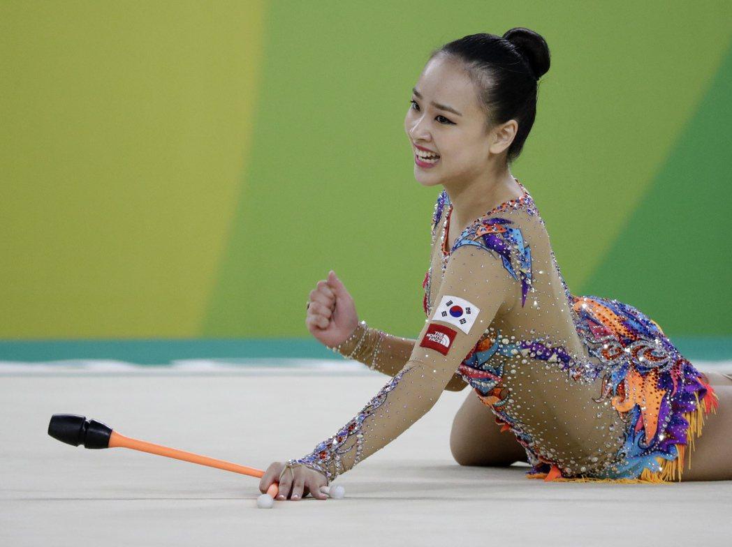 韓國韻律體操美女孫延在。 美聯社