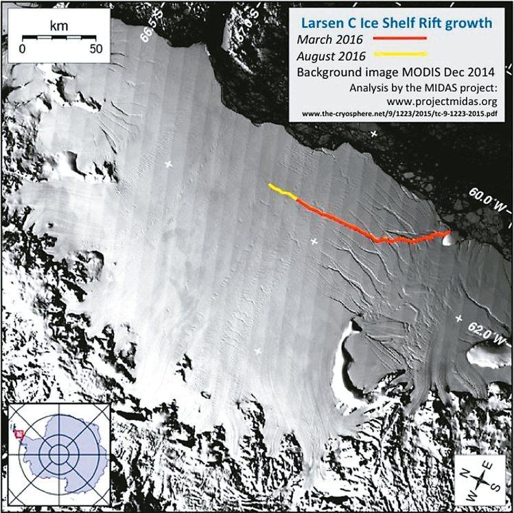 南極冰棚拉森C的裂縫過去半年來急速擴大,圖中紅線是拉森C今年3月調查時的裂縫狀況...