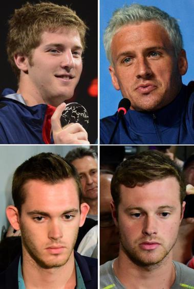 巴西警方發現,洛克特(右上)、班特茲(左下)、康格和費根(左上)疑似喝醉酒,破壞...