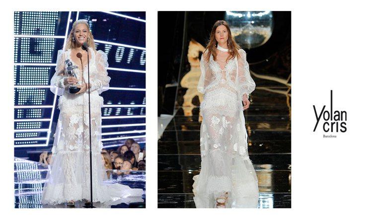 碧昂絲身穿細緻蕾絲工藝打造的YolanCris禮服。圖/Level 6ix提供