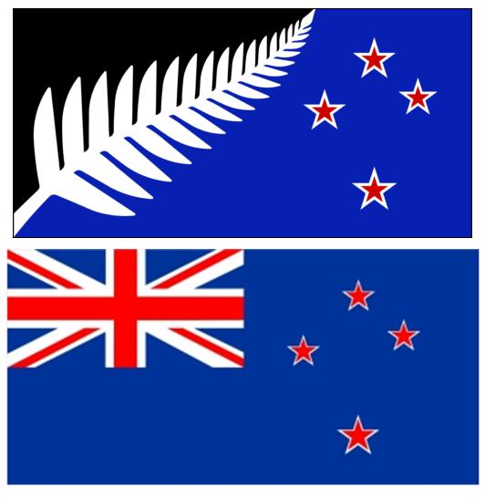 紐西蘭新國旗(上)與現有國旗(下)圖/國旗票選官網、ingimage
