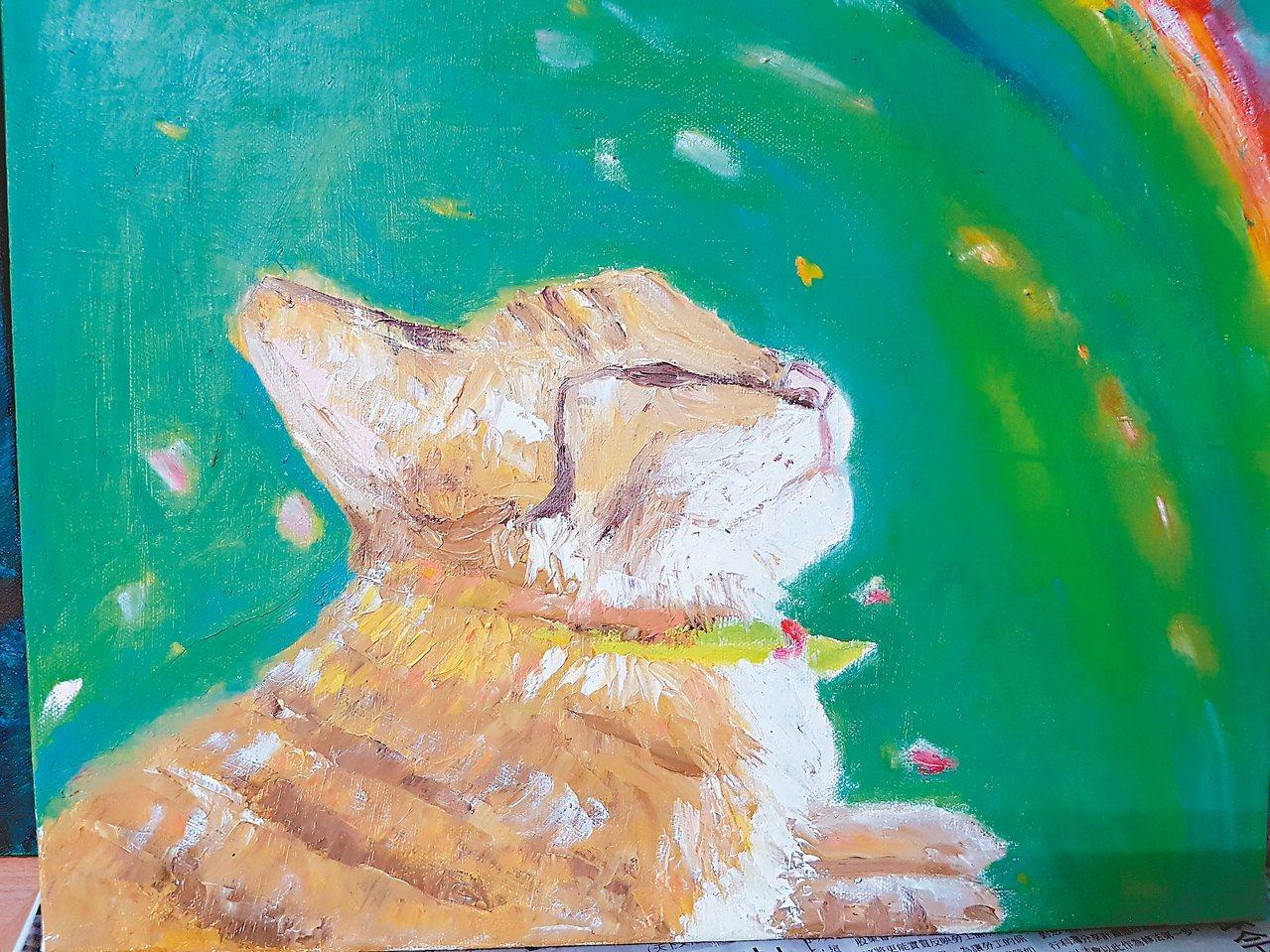朋友已經去世的貓叫咪咪,我一看這貓就喜歡,想把牠畫出來。那時朋友養的虎斑貓身體不...