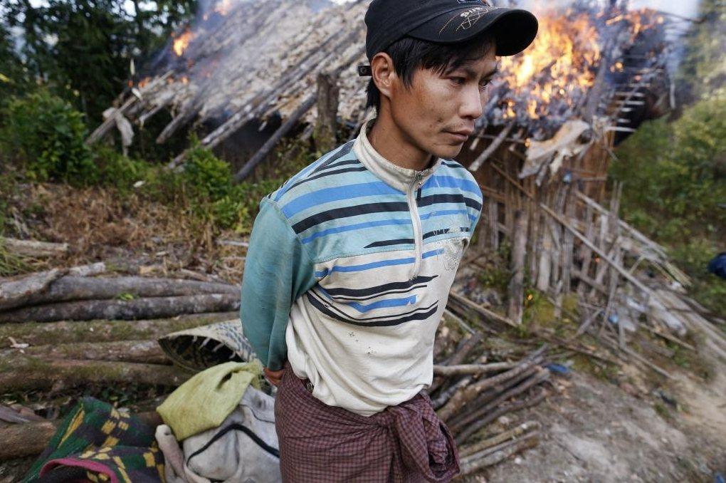 鴉片花田被德昂邦解放軍(TNLA)火燒摧毀的農民。 圖/路透社