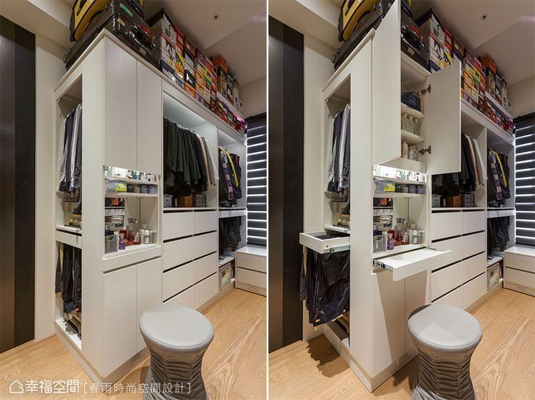 ▲開放式衣櫃在局部搭配門片設計,讓私人物品能保有隱密性。