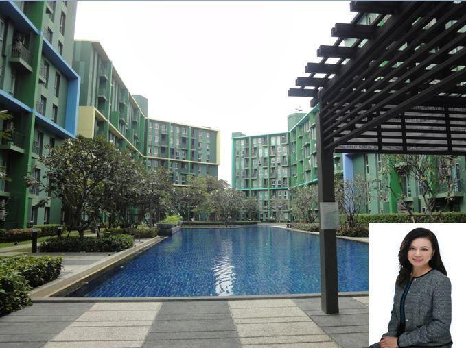 獅王不動產總裁鄭筠心(右下)說,位於泰國曼谷巧克力村旁的新成屋建案「Parc  ...