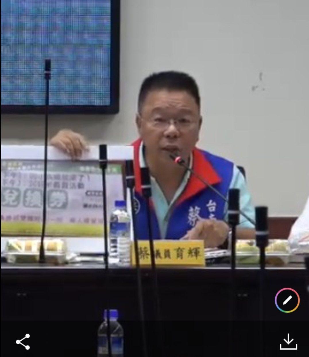 台南市议会国民党团书记长蔡育辉。图/市议会提供