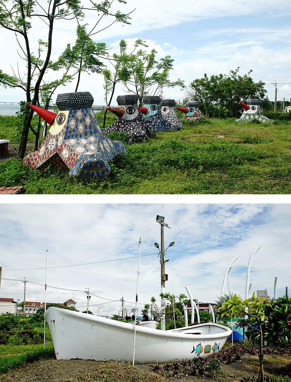 (上)消波块彩绘出可爱的水鸟艺术装置。(下)利用渔船彩绘的艺术装置。 (摄影/曾...