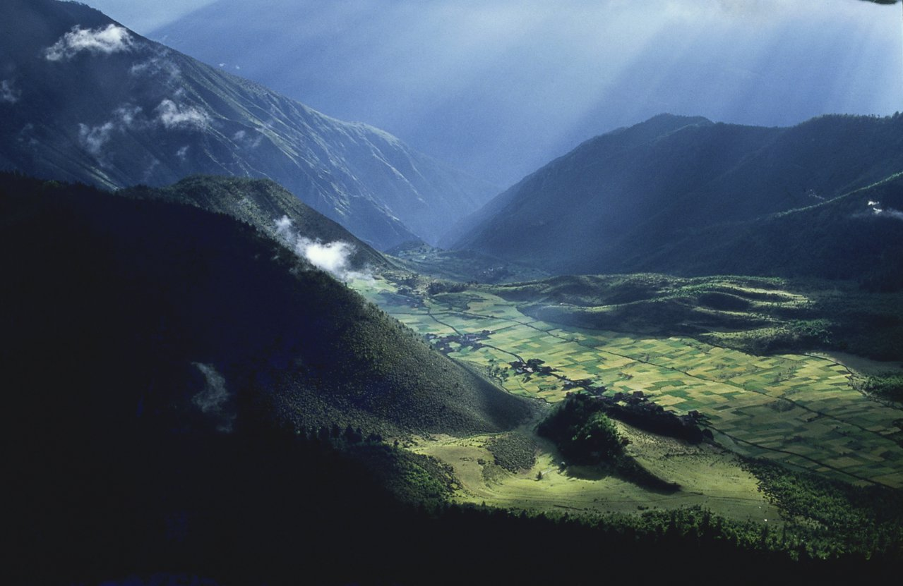 那仁,一个在白马雪山深处被起伏山峦环绕的藏族小村庄,居民、大山、森林和滇金丝猴彼...