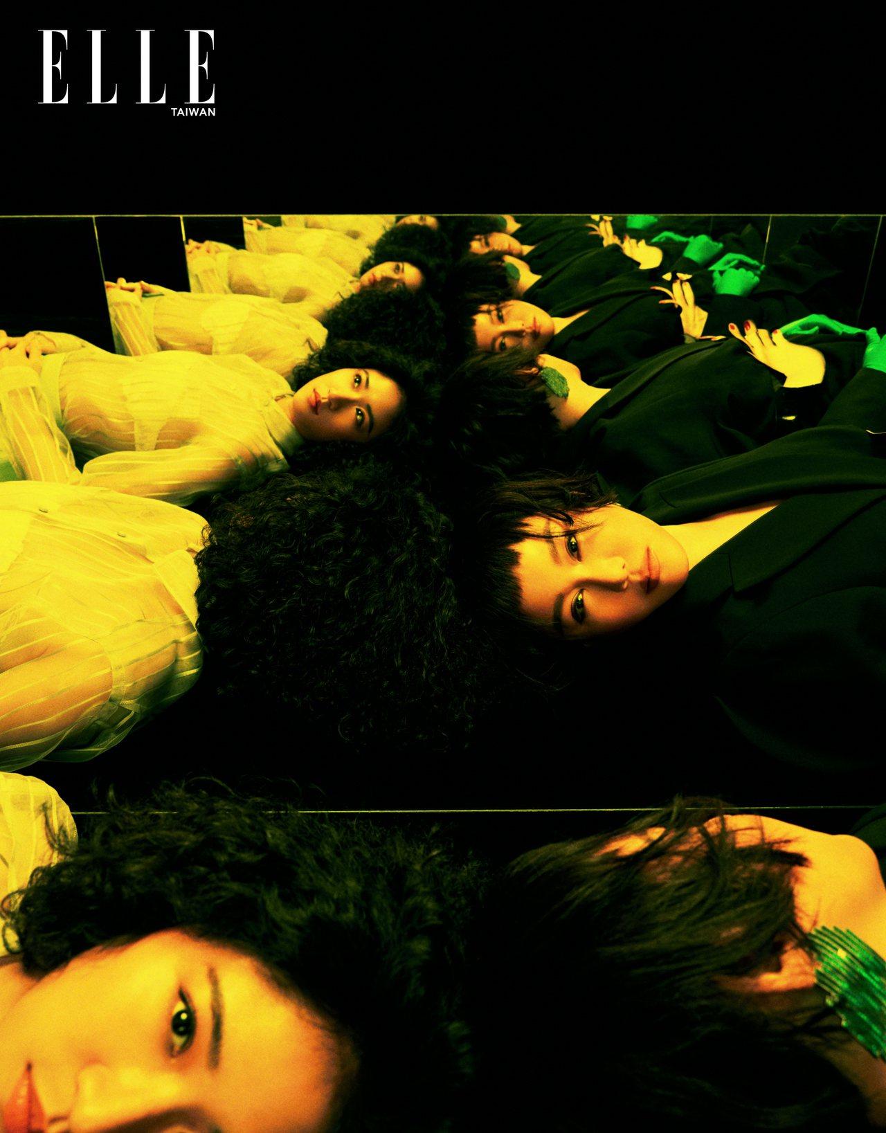 蓝心湄:开襟西装外套、西装长裤、蓝色手套、绿色裤袜、PVC手指腰带(ALL BY...