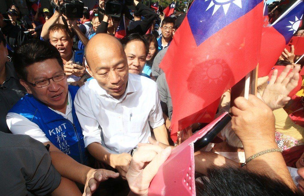 国民党总统参选人韩国瑜(左二)。记者陈正兴/摄影