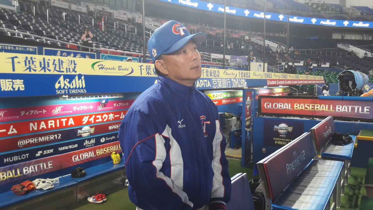 中华队对韩国之战面临极大压力,总教练洪一中坦言球队最近打线不顺。记者蓝宗标/摄影