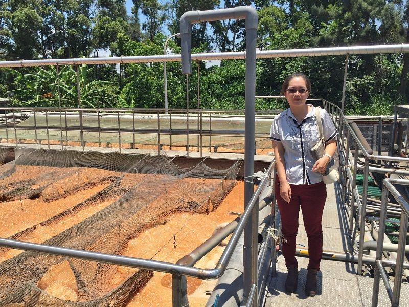 愛綠淨生技董事長傅湘楹與團隊到客戶端的實場確認廢水處理系統現況,並評估可行的解決...