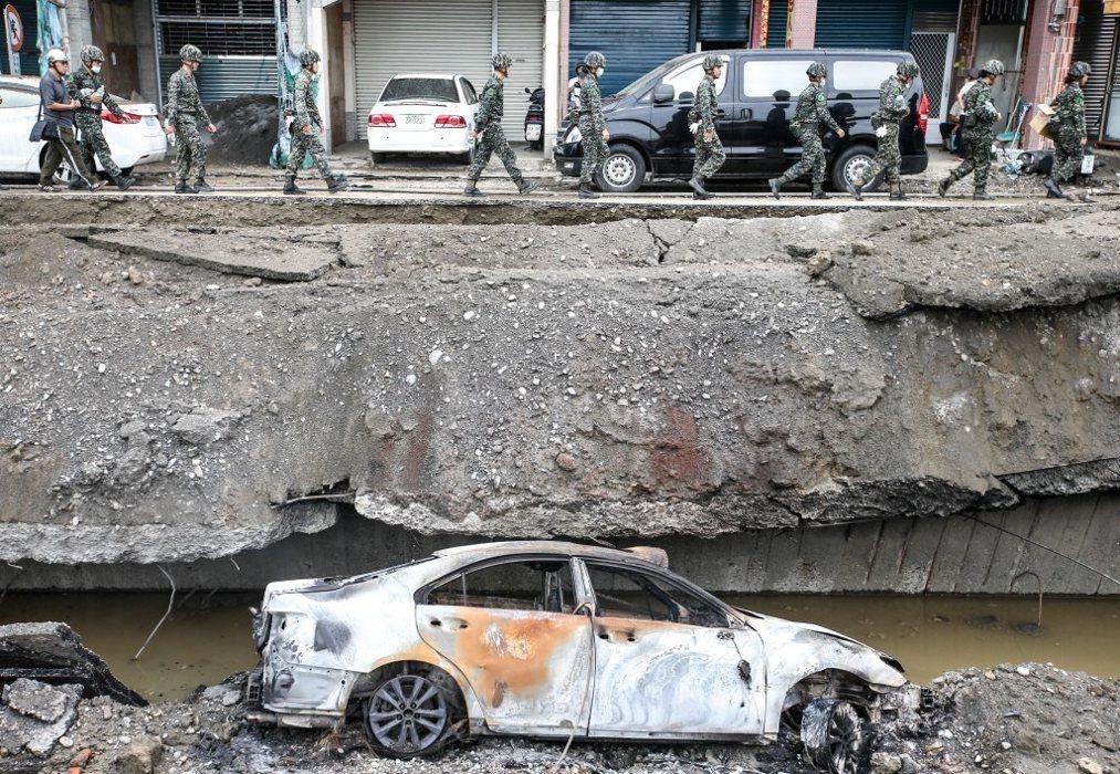 高雄氣爆造成一心路嚴重毀損,此圖為731氣爆隔天的路況。記者程宜華/攝影