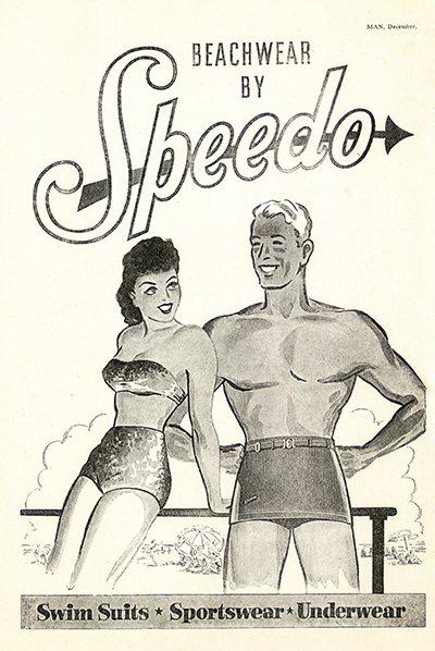 1946年比基尼問市,Speedo推出兩截式泳裝廣告,但以繪畫呈現。圖/Spee...