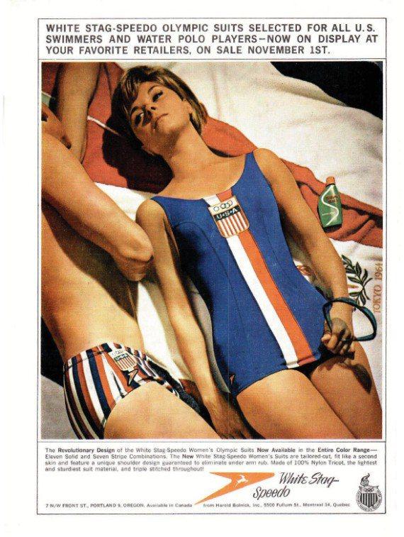 1960年代的女泳裝,是以長版緊身衣遮蓋臀部。圖/Speedo提供