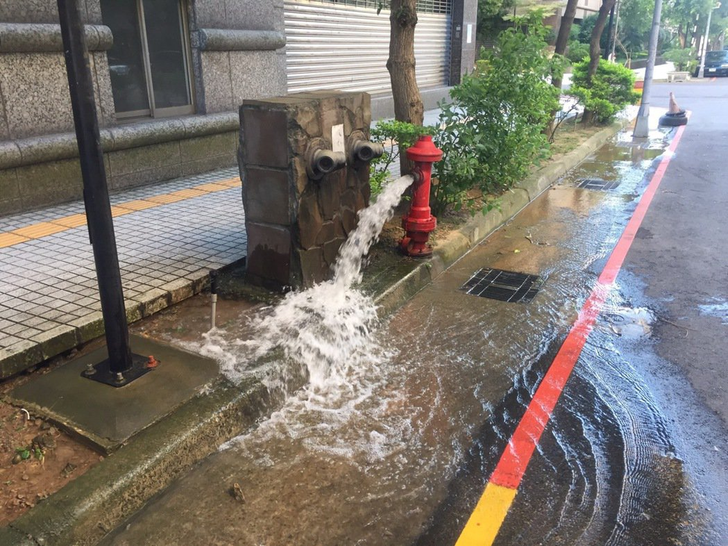 桃園市大溪區僑愛社區附近多處消防栓,今天上午至下午不斷冒出水源,也造成路邊小積水...