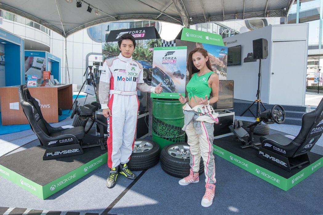 謝坤達和安小蕎專業賽車手裝扮亮相。圖/台灣微軟提供
