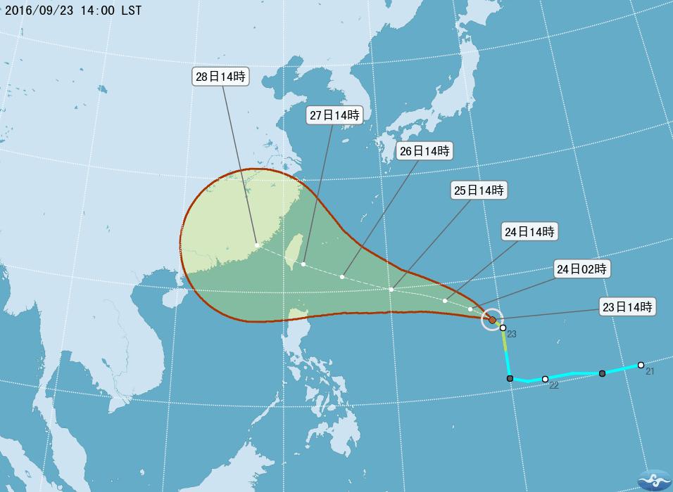 輕颱梅姬直撲台灣,對台灣影響大。資料來源/中央氣象局