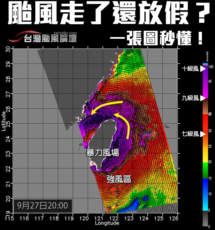 台灣颱風論壇凌晨PO上梅姬昨晚8時的風場圖,台灣被10級風的暴力風場包圍。 圖擷...