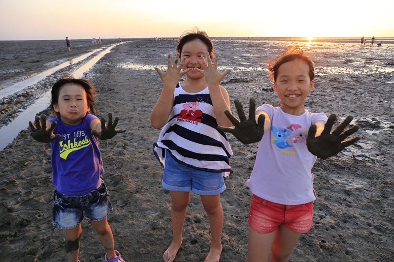 小朋友最愛在溼地抓螃蟹、玩泥巴。