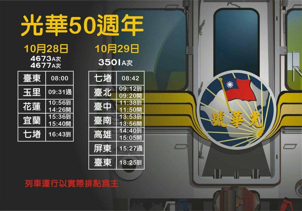 光華號50周年紀念專列開行。圖/台鐵提供