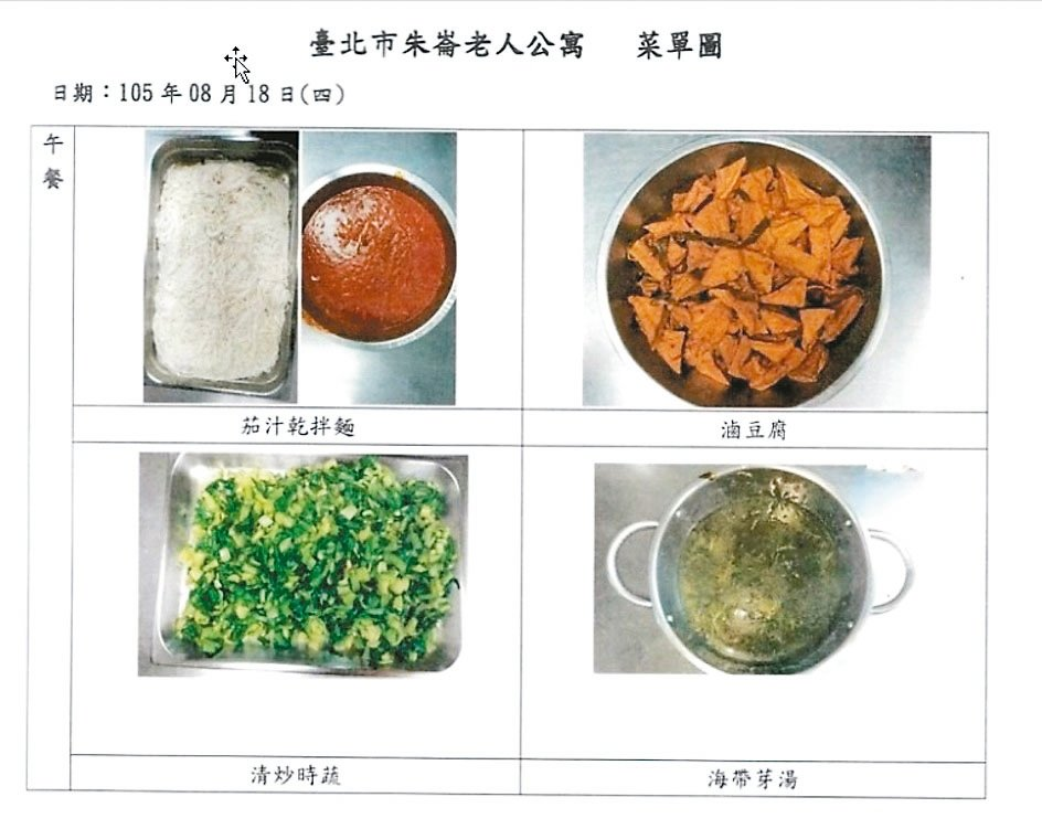 市議員洪健益昨出示台北市的老人公寓餐食,菜色差營養又不均衡。 圖/議員洪健益研究室提供